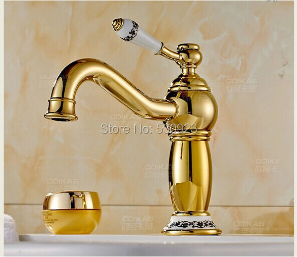 New Arrival US Free Shipping Wholesale And Retail Golden Finished Bathroom Basin Sink Faucet Ceramic Handle Mixer Tap Wall Mount us free shipping wholesale and retail modern chrome finish bathrom waterfall sink basin faucet mixer tap dual holes wall mount