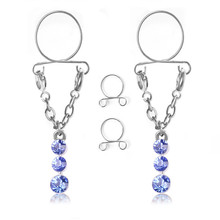 New Fashion Stainless Steel Blue Water Drop Non pierced Clip On Nipple Rings Women Fake Nipple Dangle Adjustable Body Jewelry