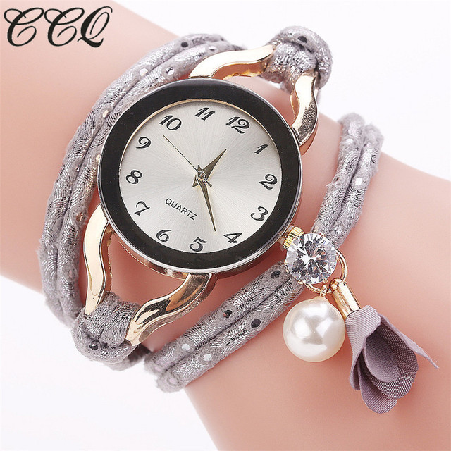 Dropshipping Women Dress Watch Fashion Gold Crystal Bead Bracelet Watches Casual