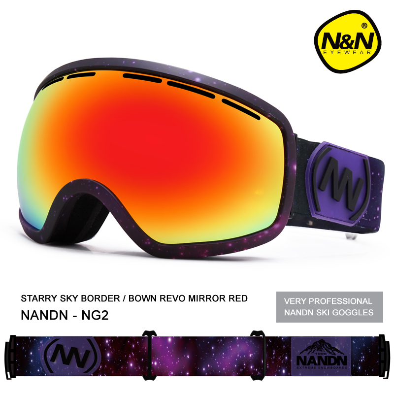 2016 N&N Ski Goggles Double Layer Lens Anti-fog Exchengeable Lens Big Spherical Professional Ski Glasses Unisex Goggles Snow NG2