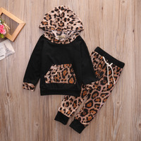 Baby Boys Girls Clothes Set 2PCS Kid Leopard Pullover Hooded Coat Outfits Pants Set Clothes Outfit Autumn Clothing
