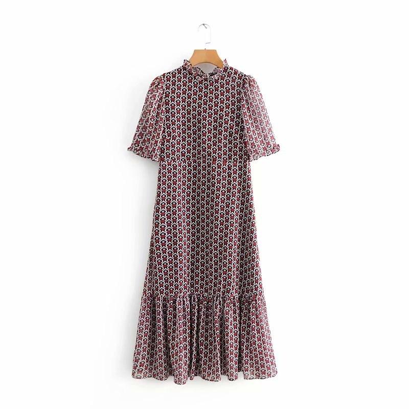 Women Sweet Hearts Print Ruffled Collar Midi Dress Ladies Back Bow Tied Pleated Ruffles Vestidos High Street Chic Dresses DS1305
