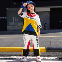 Hip Hop Clothing Kids Dance Costumes For Jazz Stitching Color Short Sleeved Pants Girls Children Street Dance Stage Wear DN2525