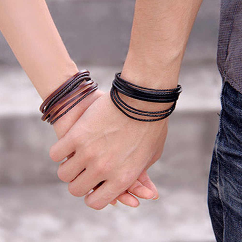 2018 Новый стиль Горячие Ручные ювелирные изделия кожа Плетеный веревочный браслет обертывание Многослойные мужские браслеты и браслеты для женщин