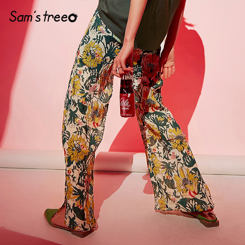 Samstree Floral Wide Leg Pants Urban Gypsy Women 2019 Autumn Chiffon Loose Elastic Waist Bohemia Office Ladies Trousers