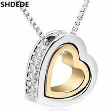 SHDEDE Classic Double Heart Pendant Necklace Crystal Fashion Jewelry Accessories For Women Wedding Anniversary Gift -10476 classic heart pendant