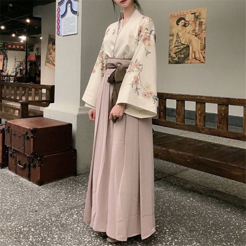 Japanese Kimono Dress Women Cardigan Yukata Haori Sakura Kawaii Girls Japan Style Streetwear Party Retro Bandage Cosplay Outfits