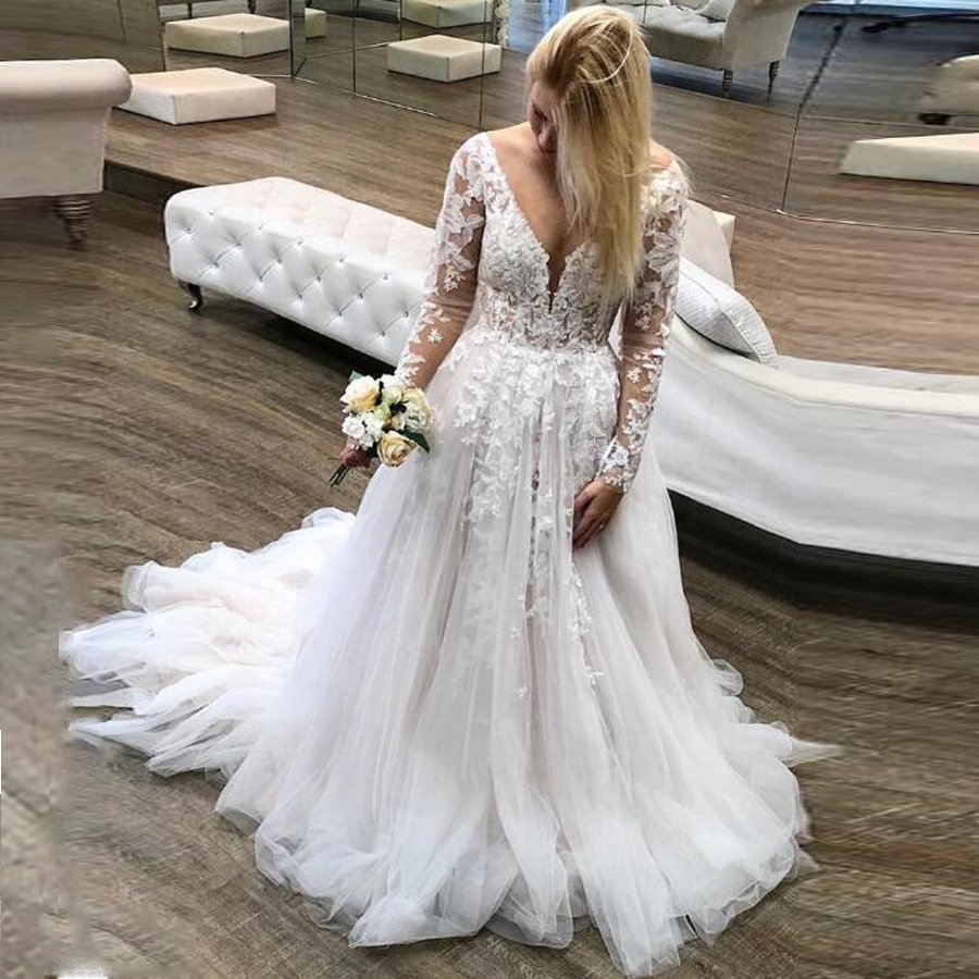 Alluring Tulle V-neck Neckline A-line Wedding Dresses With Beaded Lace Applique Backless Long Sleeves Vestido De Novia