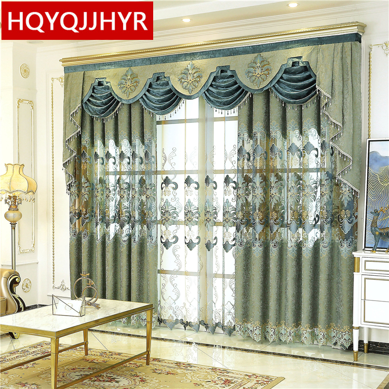 European Luxury Green Embroidered Window Curtains For Living Room With High Quality Voile Curtain For Bedroom Hotel Kitchen