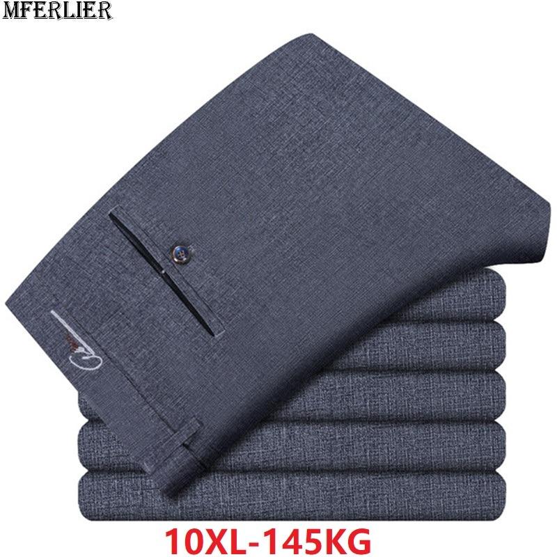 New High Quality Suit Pants Men Office Simple Gray Cotton Pants Formal Trousers Plus Size 9XL 10XL Summer Spring Business Pants