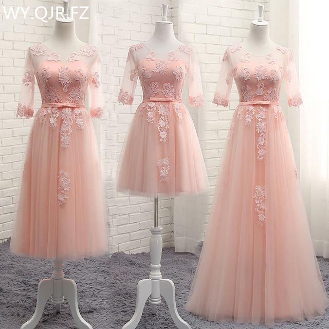 Cy7078 Ping Red Long Lace Up Bridesmaid Dresses Wedding Party Dress 2018 Perform Prom Gown