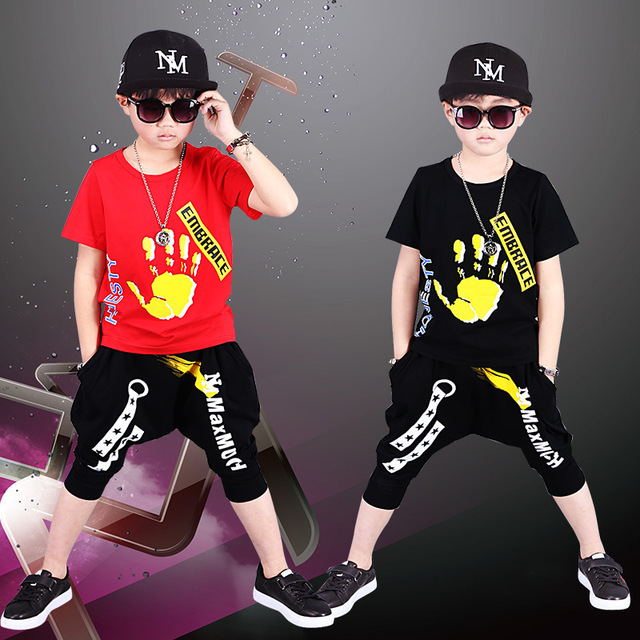 Cotton Children's Wear Boys Summer Hip-hop Suit 2018 New Style Suit Children's Fashion Short Sleeve Sport Two Piece 4-12 Year