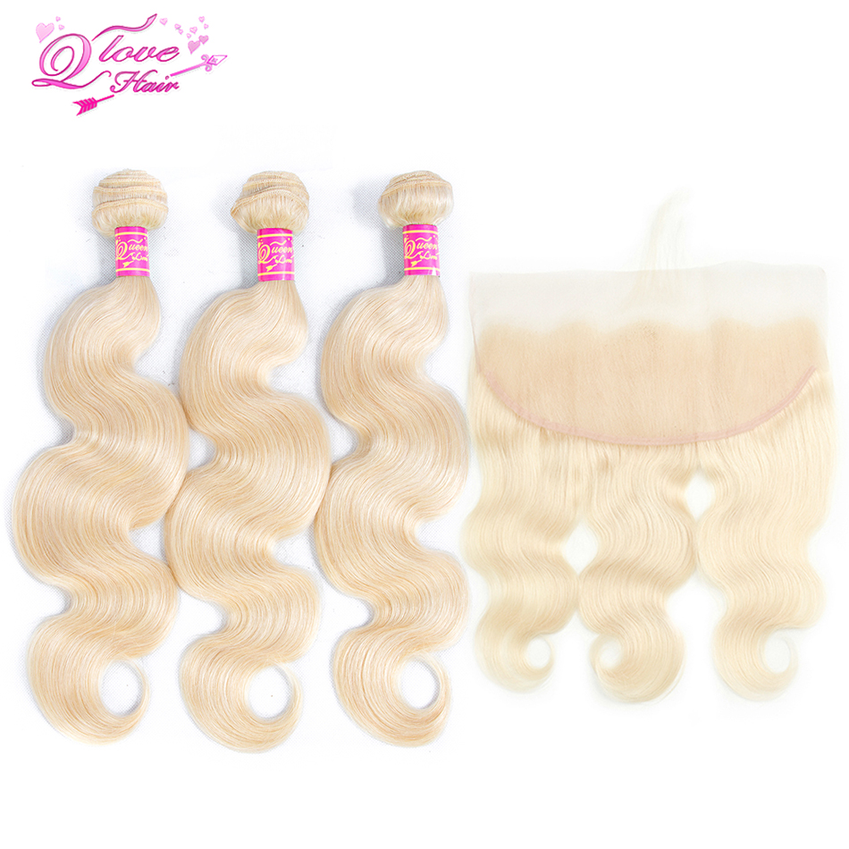 Queen Love Hair 613 Blonde Color Brazilian Body Hair 3 Bundles With 13 4 Frontal Remy