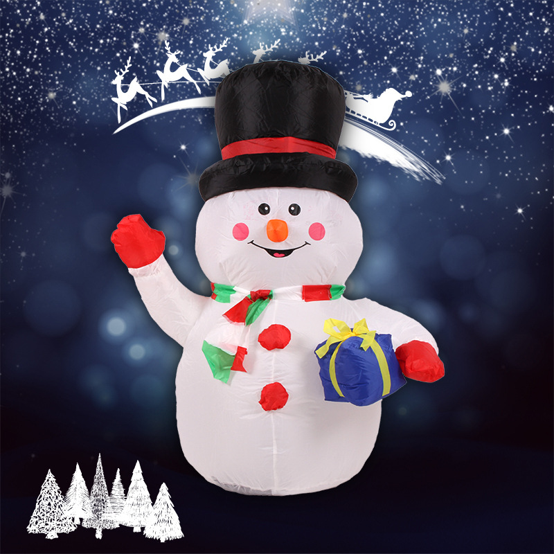 1.2M Large Outdoor Christmas Inflatable Snowman Decorations Family LED Lighted Christmas Yard Art Decoration Snowman Family