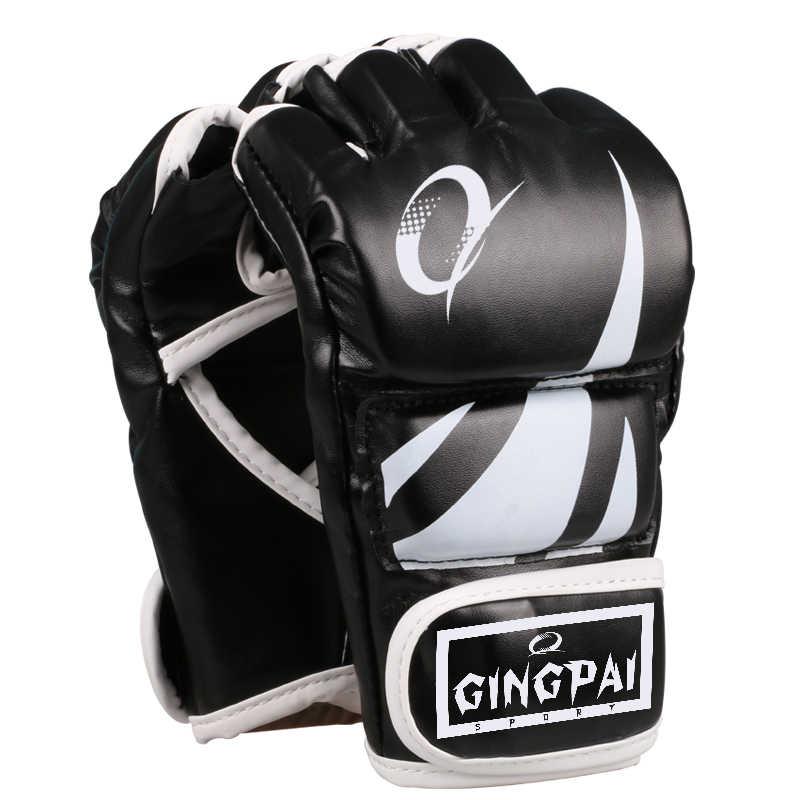 نصف الاصبع بولي leather الجلود الكبار برو نمط قفازات MMA التدريب القتال شرارة قفازات فنون الدفاع عن النفس الملاكمة التايلاندية ركلة قفازات ملاكمة