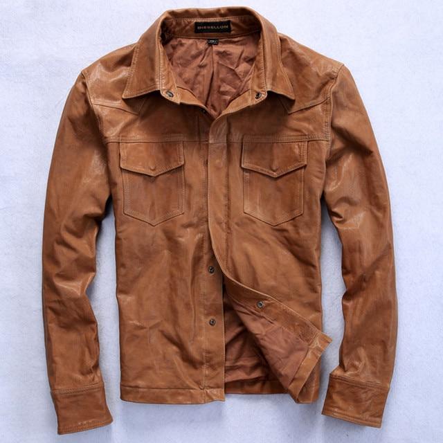44a1b107a57 Новое поступление 2016 мужские модные кожаные рубашка коричневая отложной  воротник рубашка из овчины мужской Тонкий кожаная