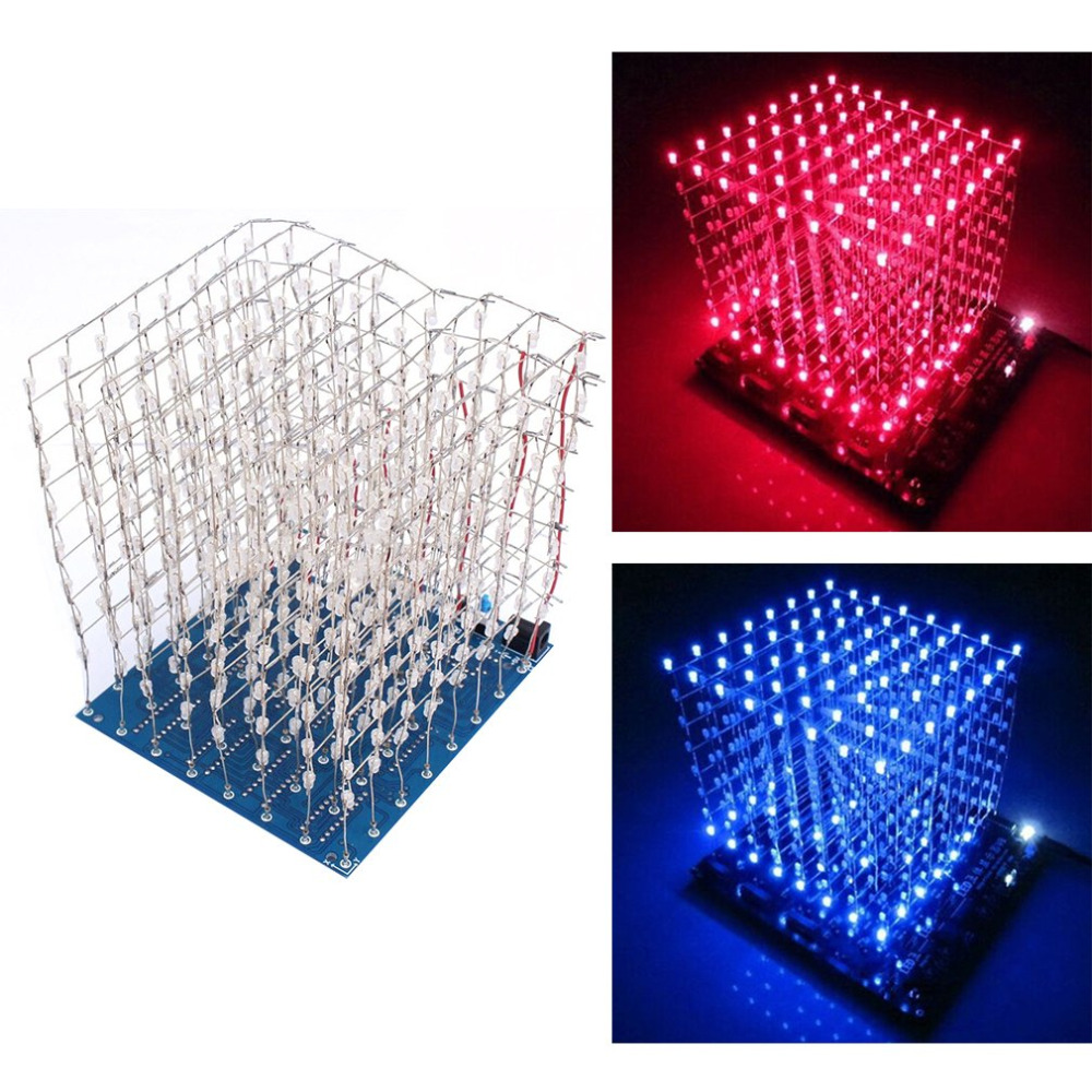 Hot Worldwide 3D Squared DIY Kit 8x8x8 3mm LED Cube White LED Blue/Red Light PCB Board