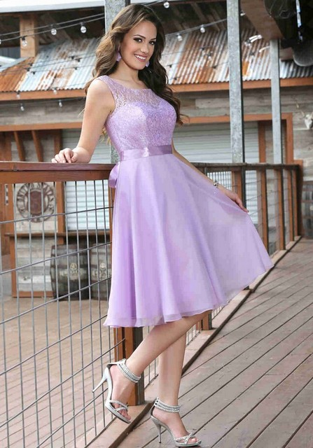 Cheap Knee Length Plus Size Lilac Bridesmaids Bridesmaid Dresses ...