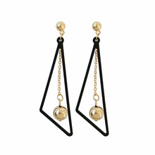Fashion temperament of geometric triangle earrings ball eardrop ms students Beautiful delicate jewelry wholesa