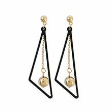 Fashion temperament of geometric triangle earrings ball eardrop ms students earrings Beautiful delicate earrings jewelry wholesa pair of delicate faux crystal ball hook earrings for women