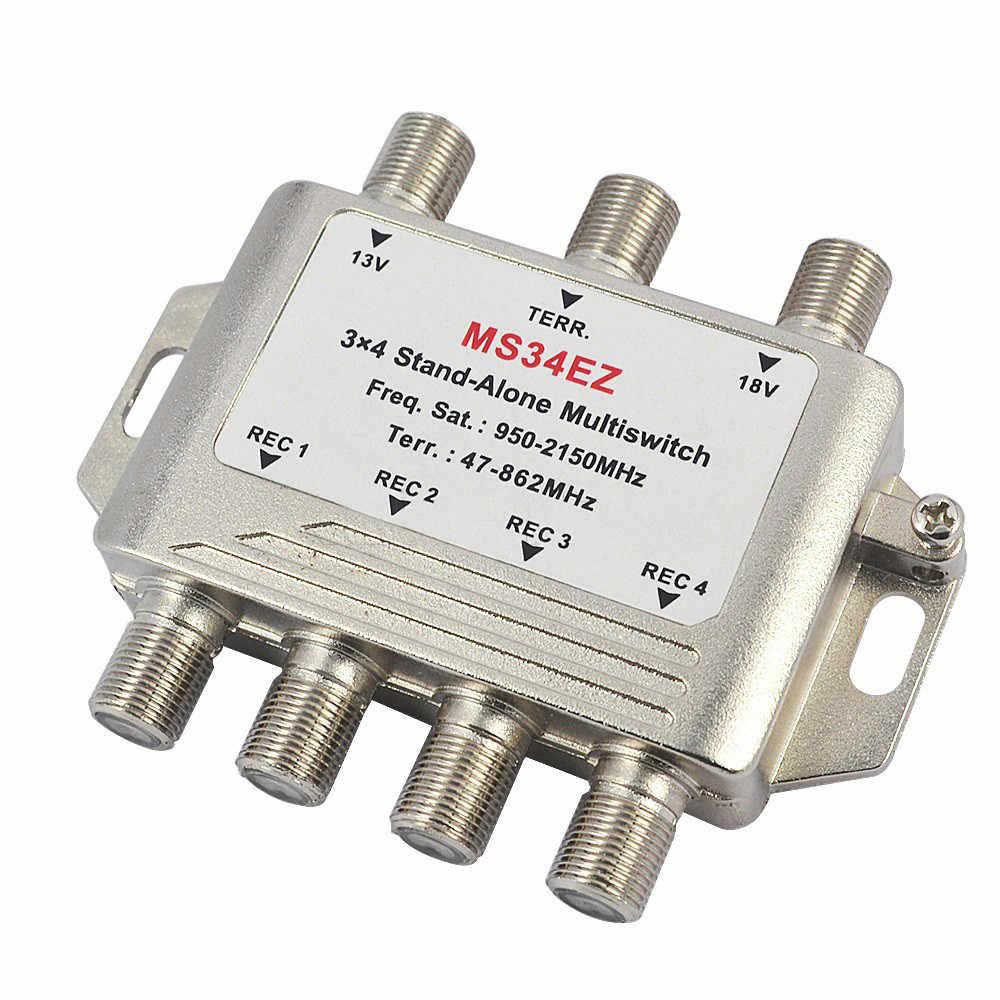 3 в 4 из спутникового DiSEqC автономный разветвитель мультиплексор 3x4 спутниковый переключатель FTA ТВ с lnb конвертером переключатель для Sma ТВ DVB-S2 DVB-T2