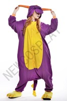 New Adult Cartoon Polar Fleece Lovely Purple Dragon Pyjamas Sleepsuit Sleepwear Onesie