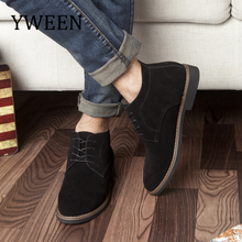 YWEEN Brand Faux Suede Leather Men's Boots Men Business Casual leather Shoes Autumn Winter Fashion Oxford Shoes For Men