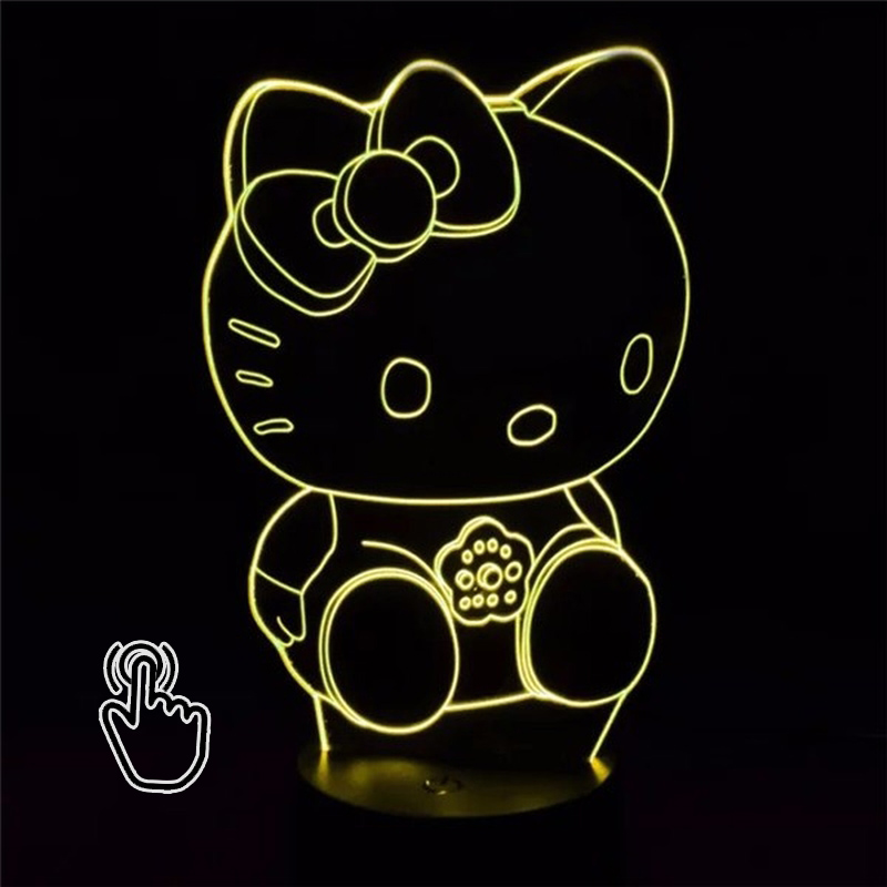 3D LED Hello Cat Kitty Lamp 7Colors Changing Night Light Touch Change Color Decorative Table Lamp for Kids Toy Bedroom Girl Gift