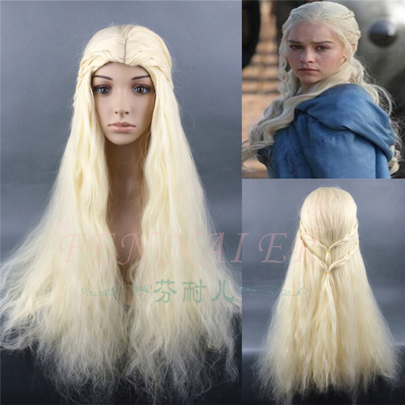 Game of Thrones Daenerys Targaryen Cosplay Wig Synthetic Hair Long Wavy Dragon of Mother Wigs Halloween Party Wig With Hairnet