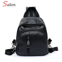 Fashion Leather Women Backpack Female Black Backpacks Small Zipper bags Student Backpack Korean Style Solid Rucksack For girls