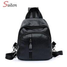 Fashion Leather font b Women b font Backpack Female Black Backpacks Small Zipper font b bags