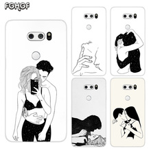 Sketch Couple Painted Pattern Soft Rubber TPU Case For LG Q8 Q7 Q6 G6 G7 G5 G4 V40 V30 V20 V10 Transparent Cover
