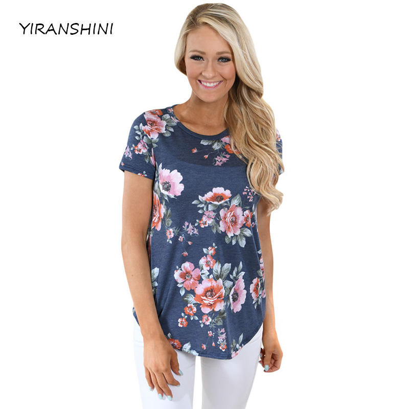YIRANSHINI Summer New Arrive Fashion Deep V-Neck Short Sleeve Solid Printed Womens Party T-shirt LC250067