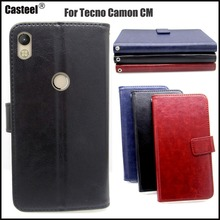 лучшая цена Casteel Classic Flight Series high quality PU skin leather case For Tecno Camon CM CA6 Case Cover Shield