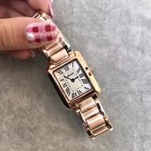 קלאסי ניטראלי מעצב נשים שעונים בציר כיכר פלדת שעוני יד רומי מספר ליידי שמלת שעון Relogio Montre Femme W109