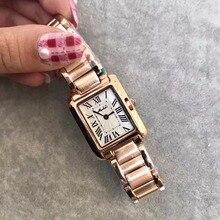 Relojes clásicos de diseño neutro para mujer, reloj de pulsera de acero cuadrado Vintage, reloj Número romano para mujer, reloj femenino W109