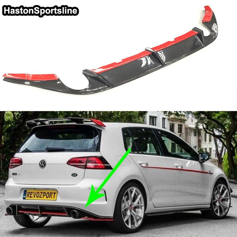 Golf 7 MK7 GTI Red Carbon Fiber Revozport Style Rear Bumper Lip Diffuser for Volkswagen VW Golf7 GTI Only 2014-2017 for vw golf gti 7 vii mk7 2014 2015 red lens led rear bumper reflector light lamp