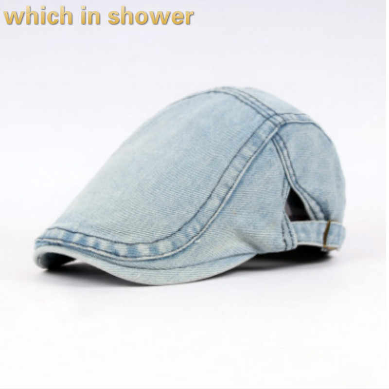 07c548ac Detail Feedback Questions about which in shower casual denim beret women  men adjustable jean flat cap vintage summer peaked cap French retro sun hat  gorras ...