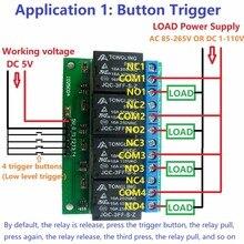 4ch 5 В флип-флоп защелка релейный модуль бистабильный самоблокирующийся электронный переключатель низкий Пульс триггер кнопка на плате MCU IO управление