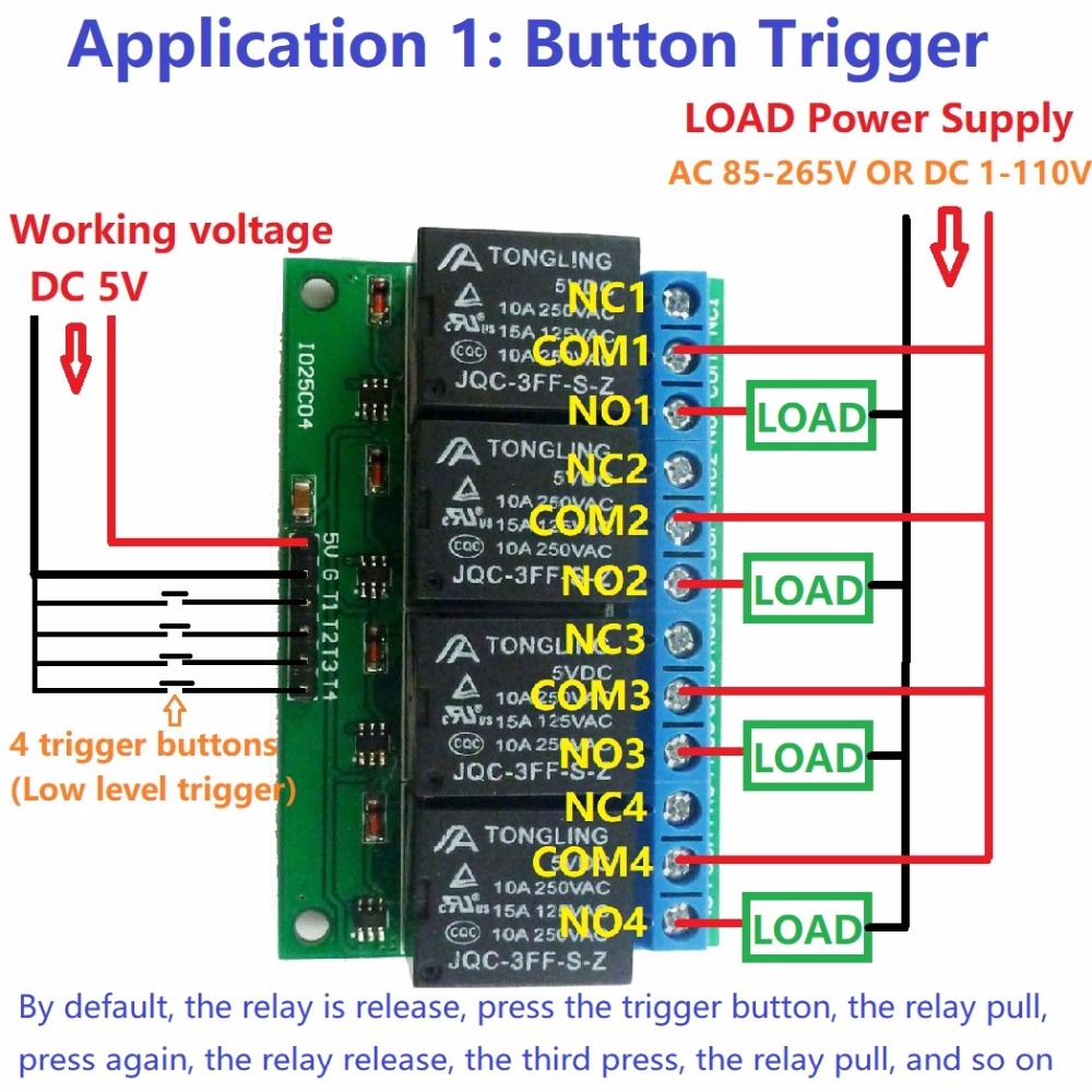 switch circuit consists of a pulse control electronic switch and a4ch 5v flip flop latch relay module bistable self locking electronic