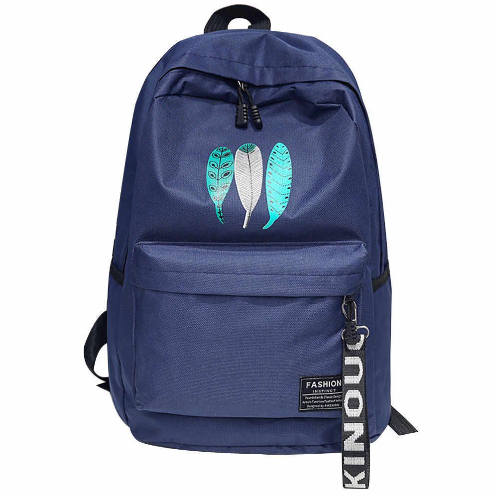 7814ab5f3ad5 ... OCARDIAN Backpack Trendy Female Feather Print Canvas Backpacks Teenage  Girls Softback School Bags Women Casual Rucksack ...