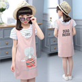 Girls cotton dress summer 2016 kids fashion pink braces dresses baby girls  child cotton T-shirt + one-piece twinset sets retail