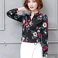 Women Chiffon Floral Print Blouse 2017 Long Sleeve Shirt Elegant Blusa Feminina Tops Women Blouses Work Wear Plus Size XXXL