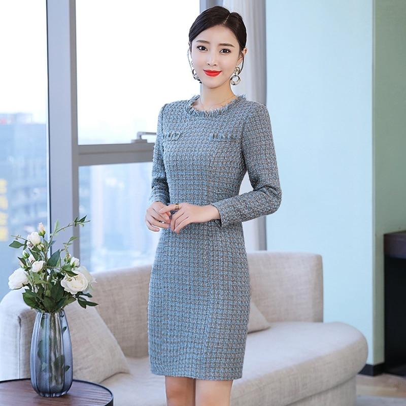 2019 Spring New Fashion O neck Blue Office Tweed Dress Women Elegant Runway Tassel Dresses Winter Ladies Plus Size Midi Dress