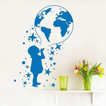 Wall Decals Vinyl World Map Wall Stickers For Kids Rooms Posters Removable Kids Room Decal Home Art Design Wall Mural AY477 video game design removable wall stickers for kids room