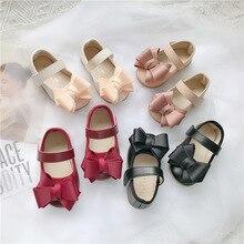 Детская кожаная обувь; От 1 до 3 лет обувь принцессы для малышей; прогулочная обувь для маленьких девочек с бабочкой; обувь на плоской подошве