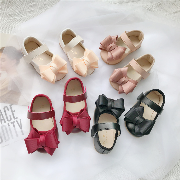 Baby Leather Shoes 1-3 Years Old Princess Single Shoes For Baby Infant Walking Kids Girls Butterfly Knotted Flat-soled Shoes