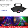 2XLot High Quality 2017 New LED UFO Stage Effect Light 75W RGBWY Colors LED Stage Lighting DJ DMX Disco Laser Projector Lights