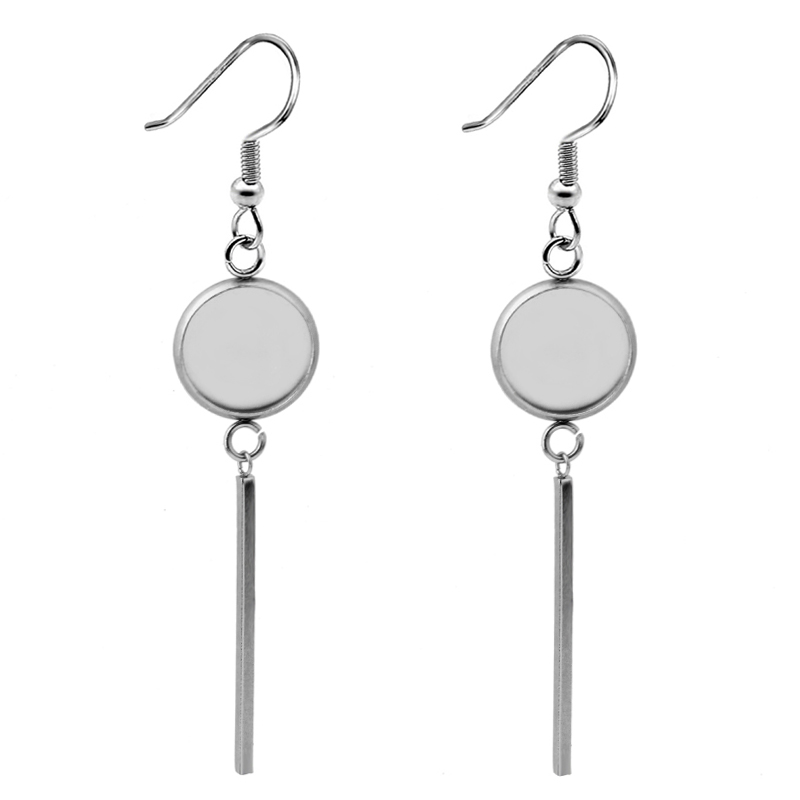 10pcs 2019 NEW Fashion Stainless Steel Women 39 s Earrings Ear Hook Cabochon Blank Base Fit 8 10 12 14 16 18 20mm Jewelry Making in Jewelry Findings amp Components from Jewelry amp Accessories