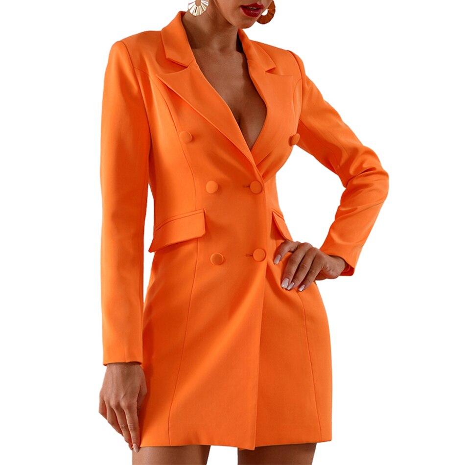 Date d'été célébrité parti moulante robe femmes Orange à manches longues col en v profond bouton Sexy soirée Club robe femmes Vestidos